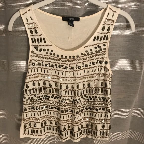 Forever 21 Tops - White Embellished Tank Top